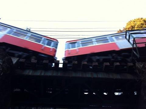 箱根登山鉄道の急カーブ
