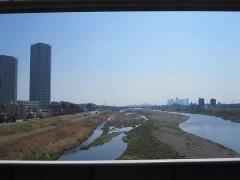二子玉川駅ホームから見た多摩川
