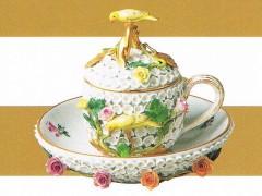 マイセン 上絵金彩貼花鳥蓋付カップ&ソーサー 1880-1900年