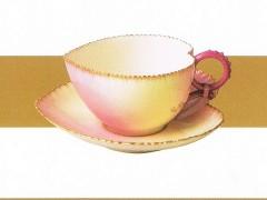 ロイヤルウースター 上絵金彩桃形カップ&ソーサー 1895年代