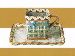 ロイヤルドルトン 上絵金彩練込模様角形カップ&ソーサー 1897-1900年