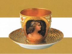 ドレスデン 上絵金彩ジュール女性図カップ&ソーサー 1890年頃