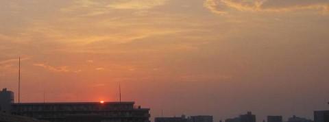 猛暑日の夕焼け