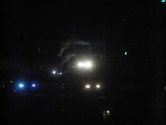 南三陸の旧防災庁舎が照らされていた